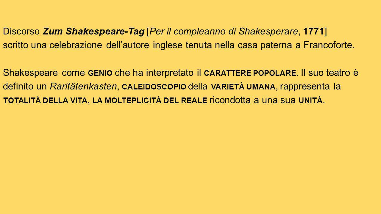 Discorso Zum Shakespeare-Tag [Per il compleanno di Shakesperare, 1771] scritto una celebrazione dell'autore inglese tenuta nella casa paterna a Francoforte.